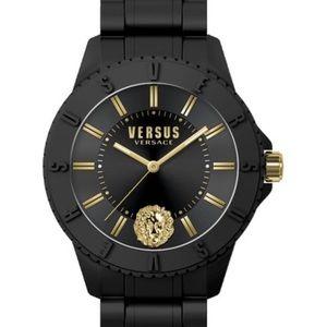 Unisex Versace versus black silicon watch